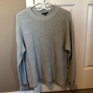 Women's grey crew neck sweater